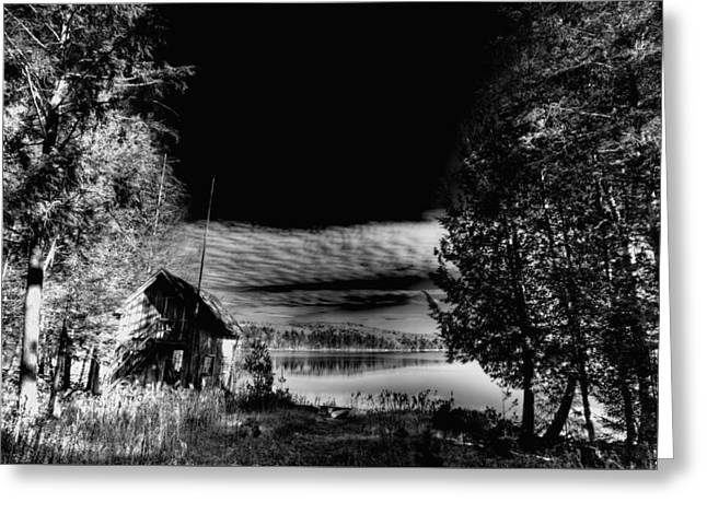 Small Cabin On Seventh Lake Greeting Card by David Patterson