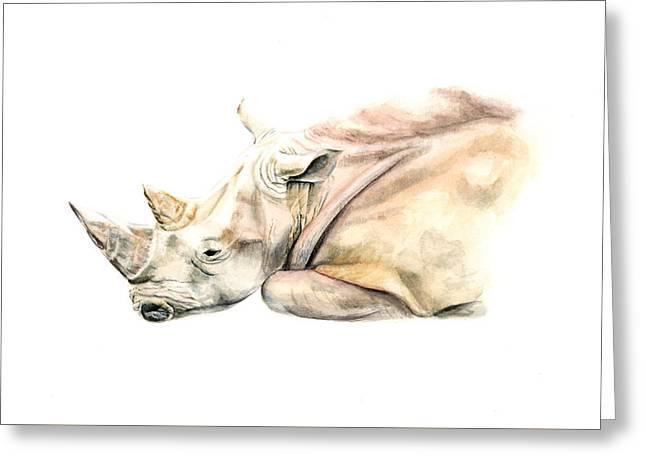 Small Colour Rhino Greeting Card by Elizabeth Lock