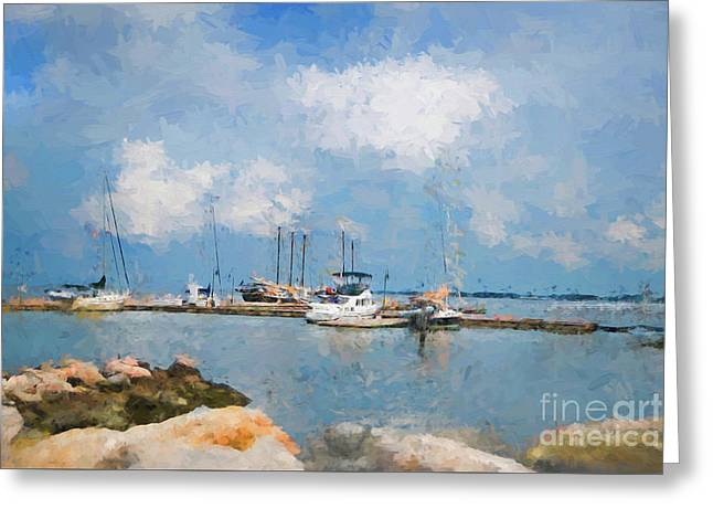 Small Dock With Boats Greeting Card