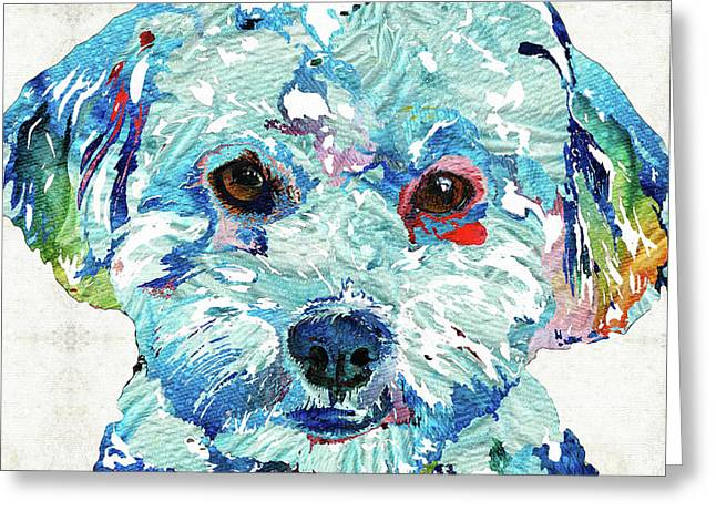 Small Dog Art - Soft Love - Sharon Cummings Greeting Card