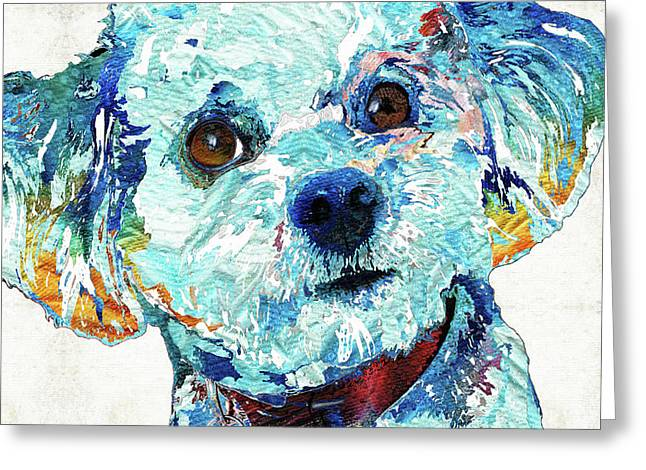 Small Dog Art - Who Me? - Sharon Cummings Greeting Card