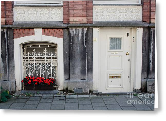 Small Door And Flower Box  Amsterdam Greeting Card by Thomas Marchessault