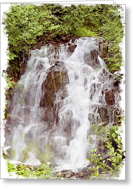Small Falls On Mt. Ranier Greeting Card by Peter J Sucy