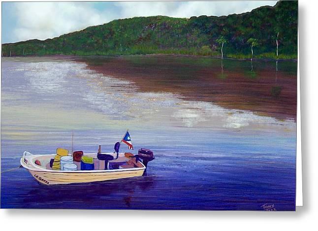Puerto Rico Mixed Media Greeting Cards - Small Fishing Boat Greeting Card by Tony Rodriguez
