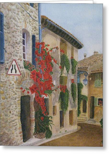 Small French Village Greeting Card by Barbara Pascal