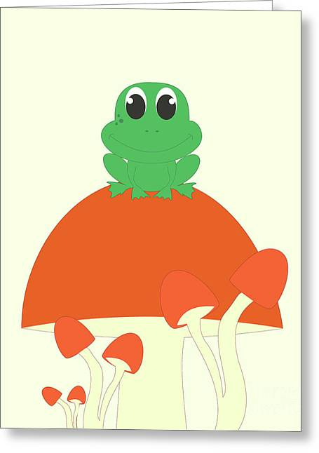 Small Frog Sitting On A Mushroom  Greeting Card