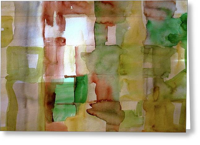 Small Grid In Earth Tones Greeting Card by Joan Norris