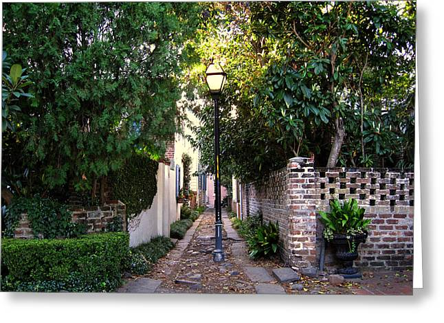 Small Lane In Charleston Greeting Card by Susanne Van Hulst