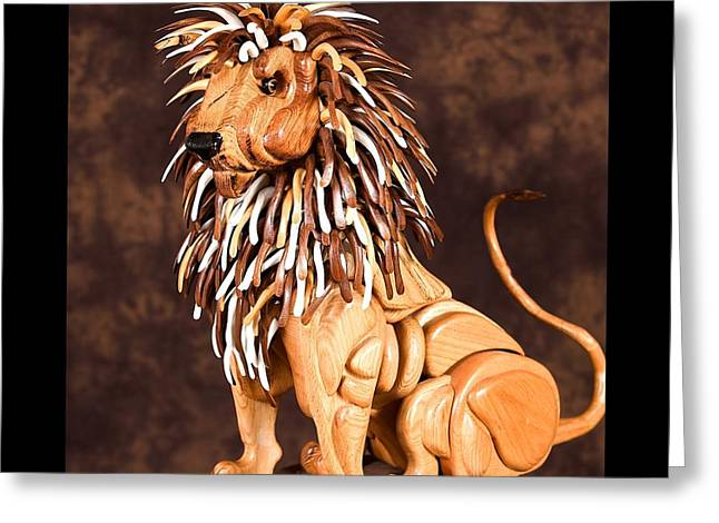 Lions Sculptures Greeting Cards - Small Lion Greeting Card by Thomas Thomas