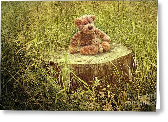 Small Little Bears On Old Wooden Stump  Greeting Card by Sandra Cunningham