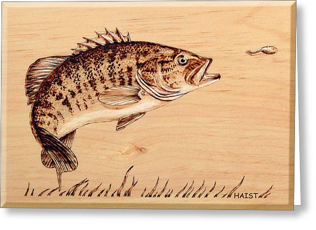 Greeting Card featuring the pyrography Small Mouth Bass by Ron Haist