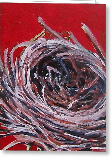 Small Nest On Red Greeting Card