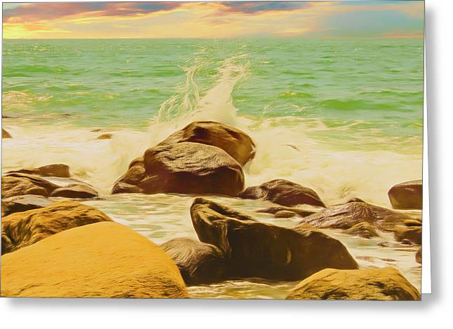 Small Ocean Waves,large Rocks. Greeting Card