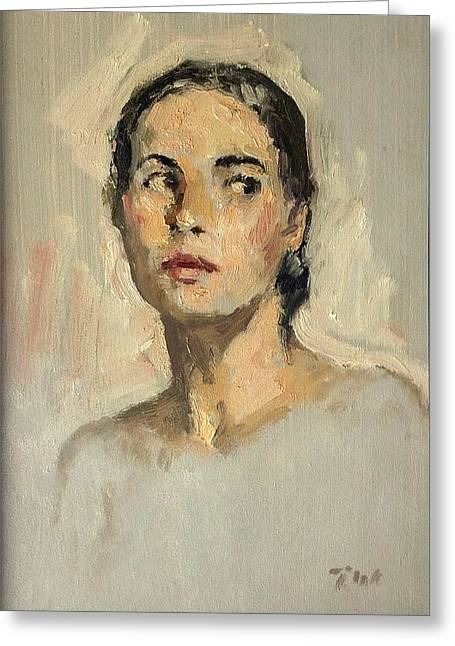 Small Oil Painting Portrait Study Young Woman Greeting Card