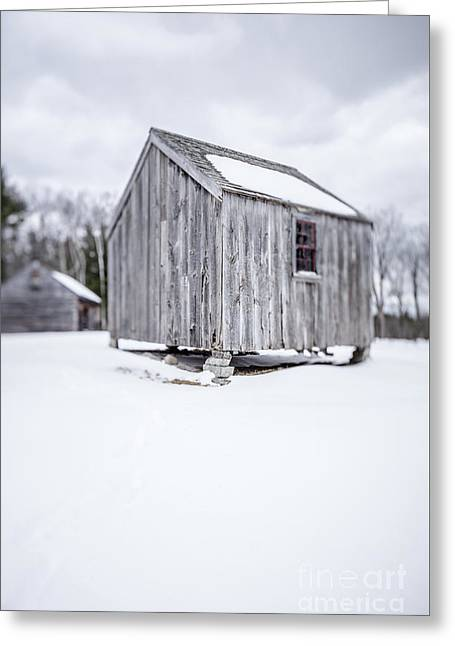 Greeting Card featuring the photograph Small Old Wooden Barn On A Farm In Winter by Edward Fielding