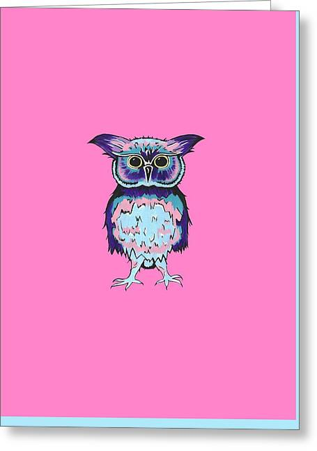Small Owl Pink Greeting Card