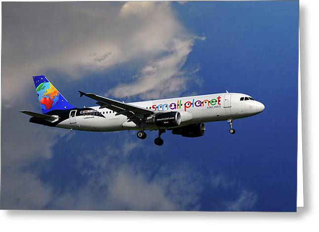 Small Planet Airbus A320-214 Greeting Card