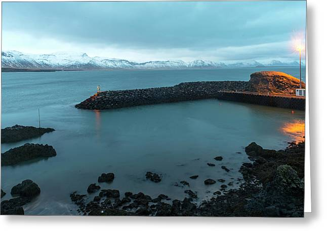 Greeting Card featuring the photograph Small Port Near Snaefellsjokull Mountain, Iceland by Dubi Roman