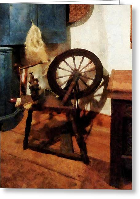 Small Spinning Wheel Greeting Card by Susan Savad