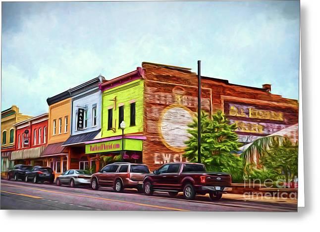 Small Town America - Main Street In Radford Virginia Greeting Card