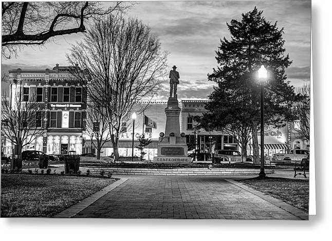 Greeting Card featuring the photograph Small Town America Skyline - Downtown Bentonville Square  - Black And White by Gregory Ballos