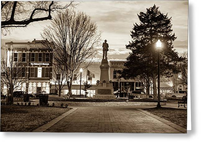 Greeting Card featuring the photograph Small Town America Skyline - Downtown Bentonville Square  - Sepia by Gregory Ballos