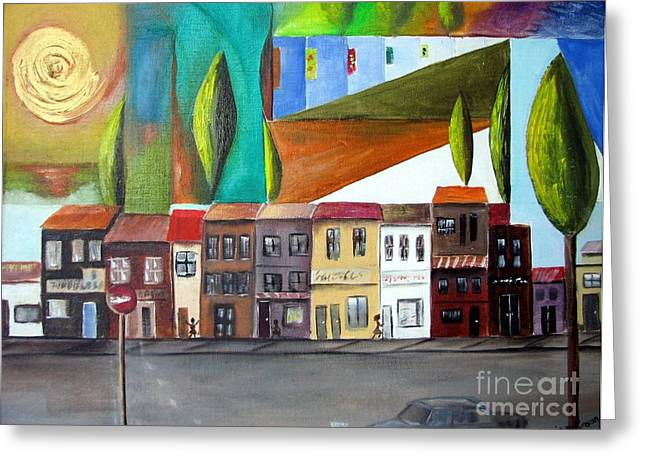 Greeting Card featuring the painting Small Town Anywhere by Anna-Maria Dickinson