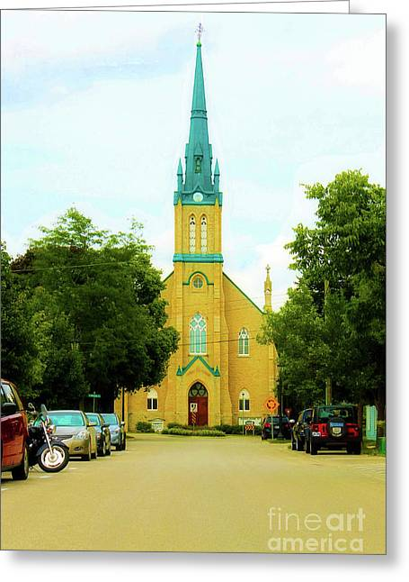 Small Town Church Greeting Card by Anthony Djordjevic
