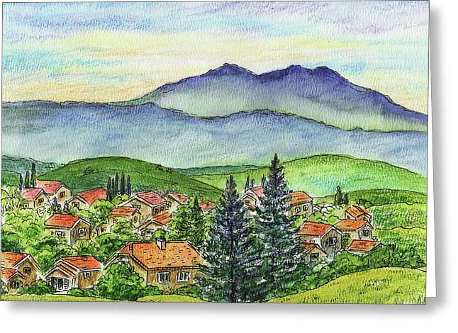 Small Town Mountains And Hills Greeting Card