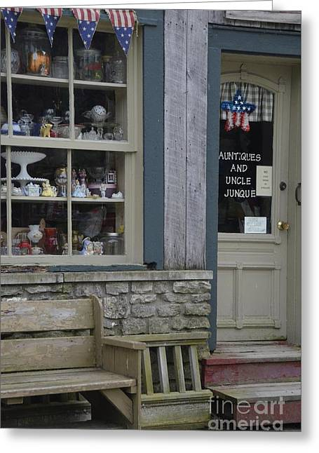 Small Town Shopping Greeting Card by Terri LeSaint-Keller