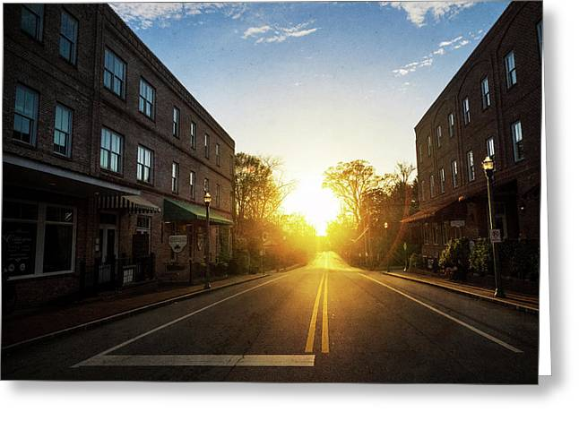 Small Town Street Sunset Greeting Card