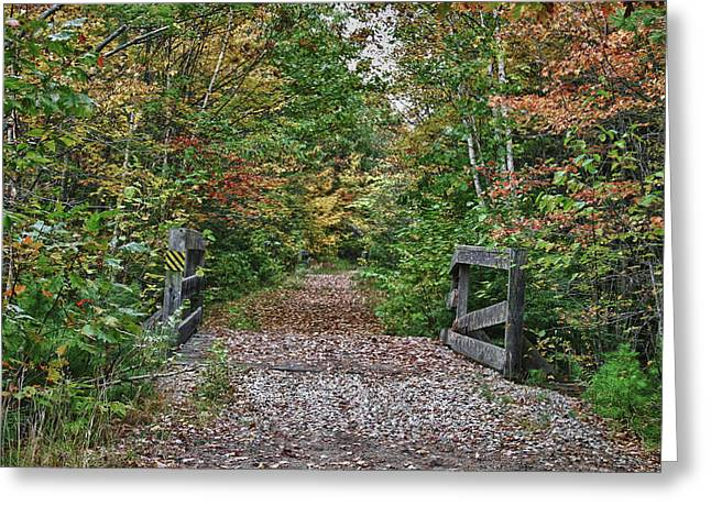 Greeting Card featuring the photograph Small Trestle Along Rail Trail by Jeff Folger