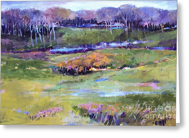 Greeting Card featuring the painting Small Valley by Diane Ursin