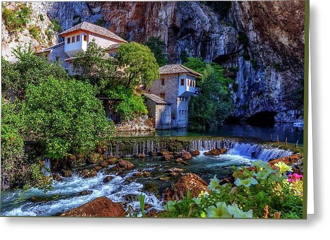 Small Village Blagaj On Buna Waterfall, Bosnia And Herzegovina Greeting Card by Elenarts - Elena Duvernay photo