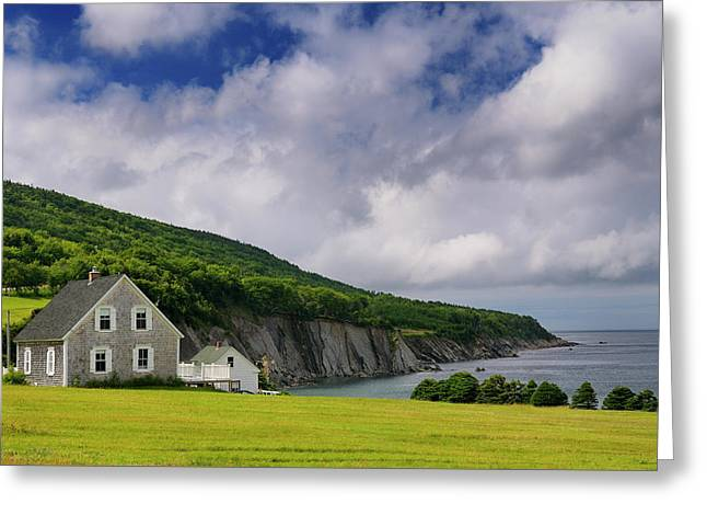 Small Village Of Capstick At The North Tip Of Cape Breton Island Greeting Card by Reimar Gaertner