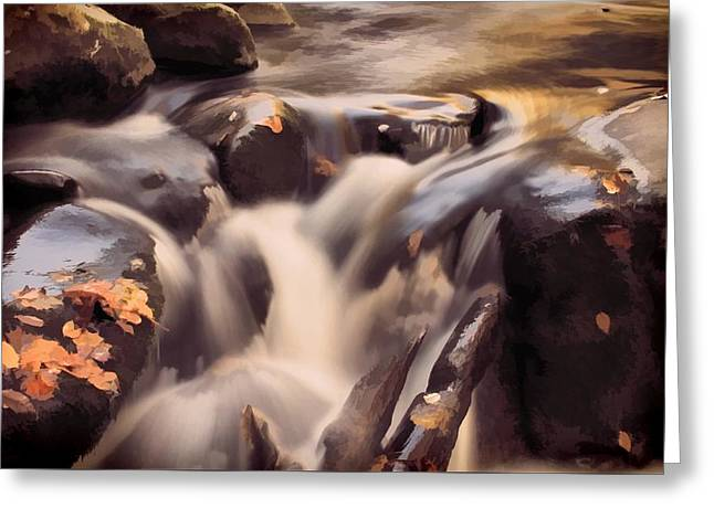 Small Waterfall In Autumn Greeting Card by Dan Sproul