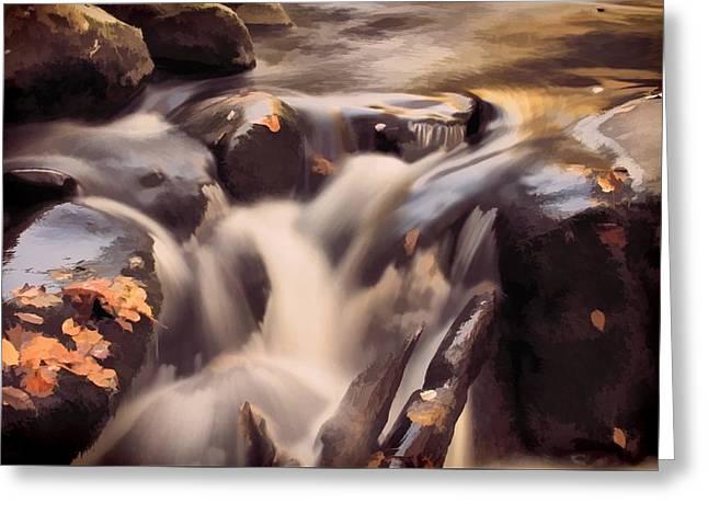 Small Waterfall In Autumn Greeting Card