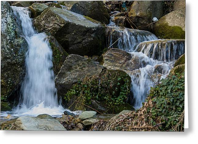 Small Waterfall Pelion Peninsula Greeting Card by Reuven Emanuel