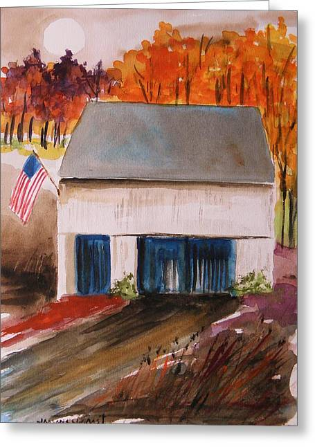 Red Roofed Barn Drawings Greeting Cards - Small White Barn Greeting Card by John  Williams