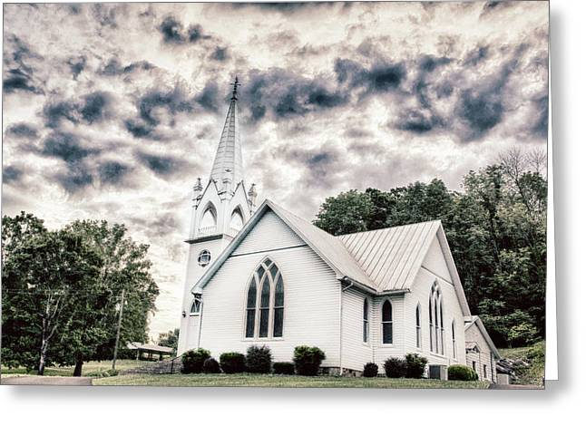 Small White Church Smoky Mountains East Tennessee Area Greeting Card by Carol Mellema