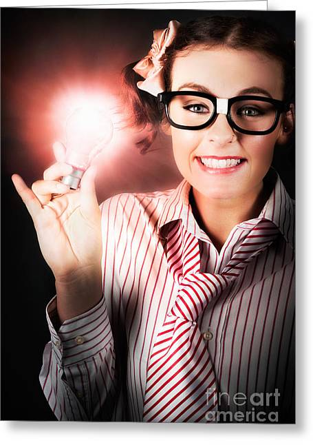 Smart Business Person Holding Light Bulb In Hand Greeting Card by Jorgo Photography - Wall Art Gallery
