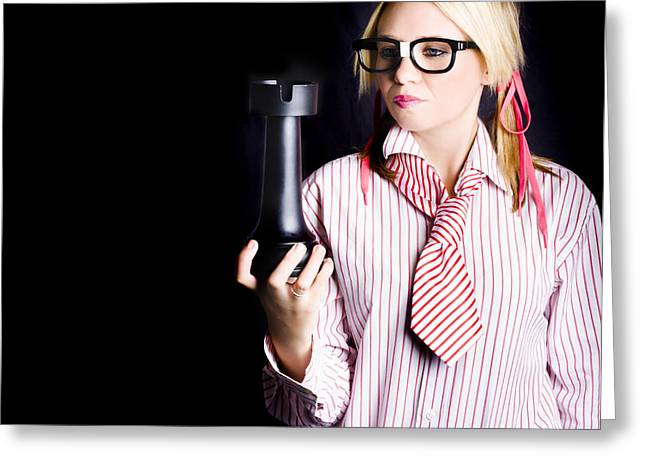 Smart Businesswoman With Oversized Chess Piece Greeting Card