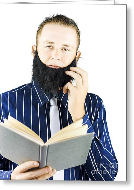 Smart Man Reading Book Of Knowledge Greeting Card by Jorgo Photography - Wall Art Gallery