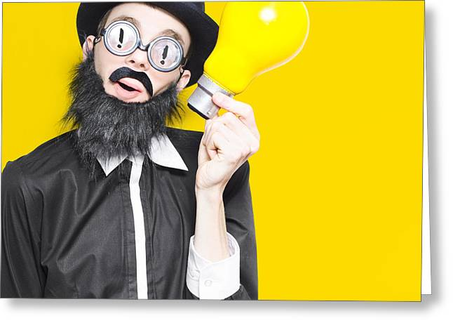 Smart Man With Big Creative Idea On Yellow Copyspace Greeting Card by Jorgo Photography - Wall Art Gallery