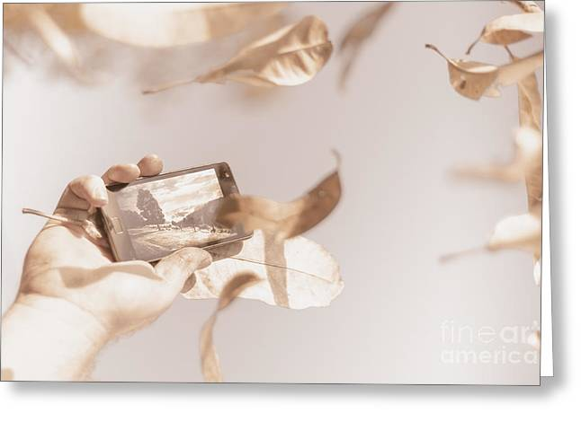 Smart Phone Catching A Serene Autumn Landscape Greeting Card by Jorgo Photography - Wall Art Gallery