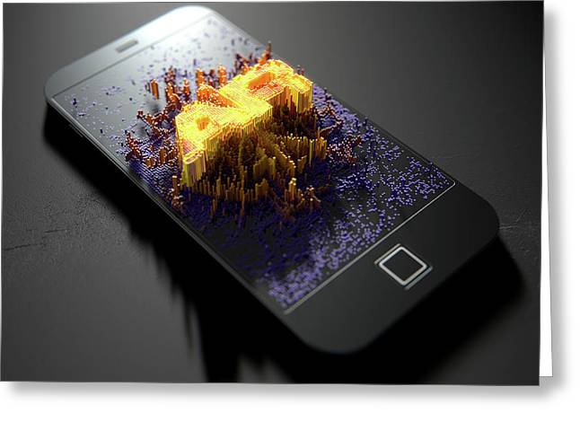 Smart Phone Emanating Augmented Reality Greeting Card by Allan Swart