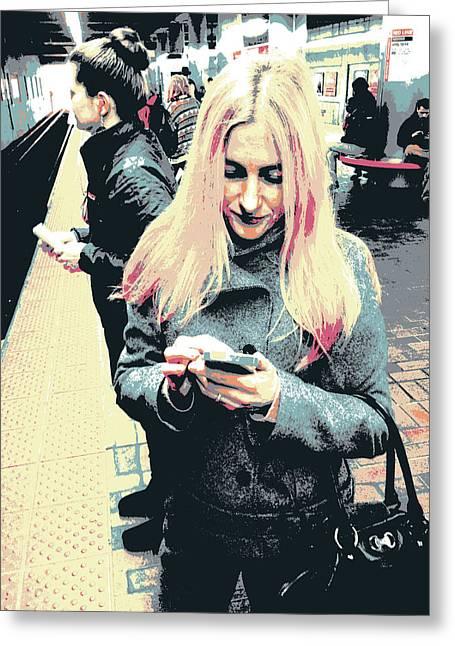 Smartphone Blonde Greeting Card by Shay Culligan