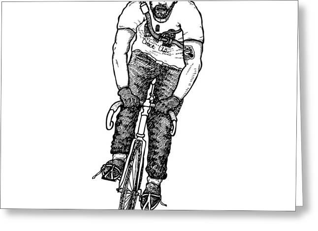 Smashing Bike Messenger Greeting Card by Karl Addison