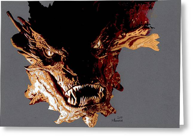 Smaug The Terrible Greeting Card by Kayleigh Semeniuk