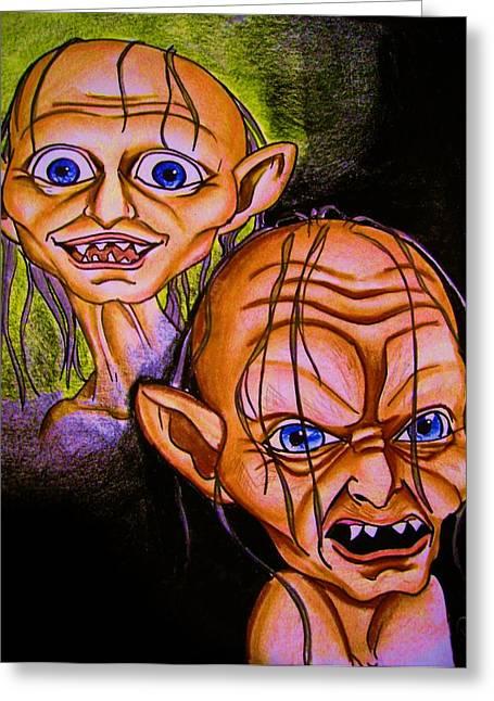 Smeagol Vrs Gollum Greeting Card by Penny  Elliott